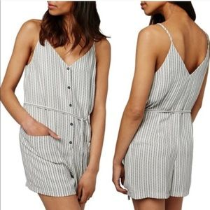 Topshop stripped romper tank top button up pockets